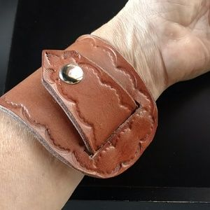 Leather hand tooled wrap cuff bracelet